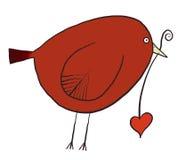 Stylized bird. Simple stylized bird holding heart shape Stock Illustration