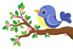 Stylized bird on spring branch theme 1 Royalty Free Stock Photos