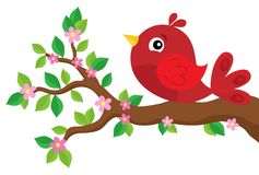 Stylized bird on spring branch theme 2 Royalty Free Stock Photography