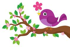 Stylized bird on spring branch theme 4 Stock Photo