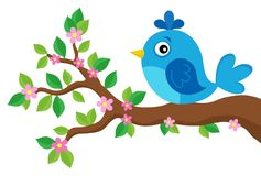 Stylized bird on spring branch theme 3 Royalty Free Stock Images