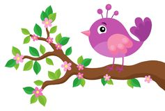 Stylized bird on spring branch theme 5 Royalty Free Stock Photos
