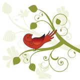 Stylized bird in a tree Royalty Free Stock Image