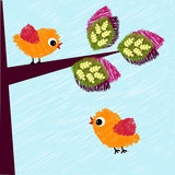 Stylized birds. Stylized hand drawn illustration - birds and tree Royalty Free Illustration