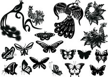 Stylized birds and butterflies collection Royalty Free Stock Photos