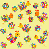 Stylized birds and flowers background for kids Royalty Free Stock Image