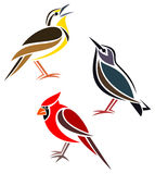 Stylized birds. Western Meadowlark, Common Starling and Northern Cardinal Royalty Free Stock Photos
