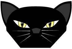 Stylized face of a black cat cartoon isolated Stock Photography