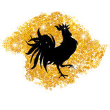 Stylized black cock on a background of golden sand. Year fire rooster. illustration. Stylized black cock on a background of golden sand. Year fire rooster Stock Photos