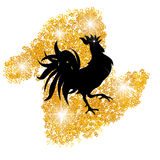 Stylized black cock on a background of golden sand. Year red rooster. illustration. Stylized black cock on a background of golden sand. Year red rooster. Vector Royalty Free Stock Photography
