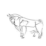 Stylized,  black contour of the bull on a white background, tattoo, illustration: Royalty Free Stock Photos