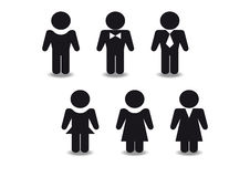 Stylized black figures of men and women. Simple black stylized drawing of men and women Stock Photography