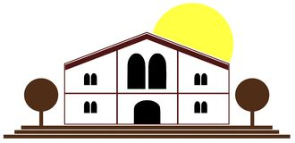 Stylized black house with sun isolated Royalty Free Stock Photos