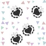 Stylized black ornamental hearts composed with fractal rendered shapes on square tile Royalty Free Stock Image