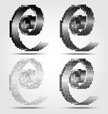 Stylized black spiral halftone icons Royalty Free Stock Images