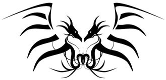 Stylized Black Two-headed Dragon Tattoo Isolated Royalty Free Stock Image