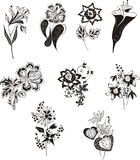 Stylized black and white flowers Stock Photography