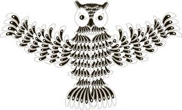 Stylized black and white flying owl, hand drawn Stock Photography