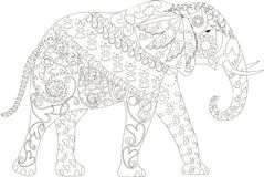 Stylized black and white hand drawn elephant, anti stress Royalty Free Stock Images