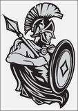 KNIGHT IN ARMOR WITH A SPEAR AND SHIELD. Stylized black and white image of a medieval knight in armor with a spear and shield Royalty Free Stock Photo