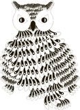 Stylized black and white owl with folded wings, hand drawn Stock Images