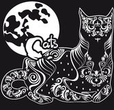 Stylized  black and white patterned cat Royalty Free Stock Image