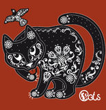 Stylized  black and white patterned cat on red Royalty Free Stock Photography