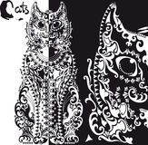 Stylized  black and white patterned cat Royalty Free Stock Photos