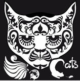 Stylized  black and white patterned head cat Stock Photo