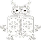 Stylized black and white reading owl, hand drawn Stock Image