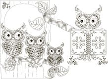 Stylized black and white reads owl and owlets on tree, hand drawn Stock Photo