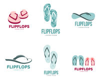 Stylized black and white rubber flip flops logo template set. Set of stylized black and white rubber flip flops logo templates, vector illustration isolated on Stock Photos