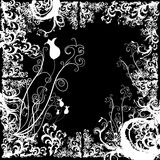 stylized blom- grunge för kantelement Arkivfoton