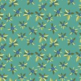 Stylized blue berries on a green background. Seamless pattern with vegetative elements and berries for design Stock Image
