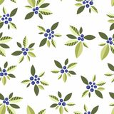 Stylized blue berries on a white background. Seamless pattern with vegetative elements and berries for design Royalty Free Stock Photography