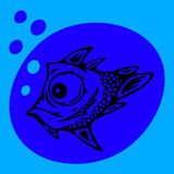 Stylized blue fish blowing bubbles. Stylized blue fish with big eyes blowing bubbles Royalty Free Stock Photography