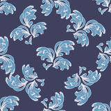 Stylized Blue Waves Pattern on a Dark Blue Background Stock Photo