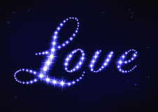 Stylized blue word love in style of star constellation Royalty Free Stock Photography