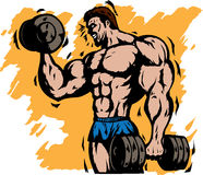 Stylized bodybuilder. Doing curls with power stock illustration