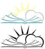 Stylized Book with sun and cloud isolated Stock Photos