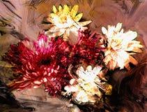 Stylized bouquet of chrysanthemums on grunge striped background stock illustration