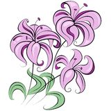 Stylized bouquet of flowers similar to lily Royalty Free Stock Photos