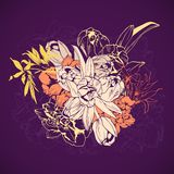 Stylized bouquet of spring flowers. Hand drawn Royalty Free Stock Photography