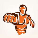 Stylized boxer silhouette, boxing symbol Royalty Free Stock Image