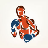Stylized boxer silhouette, boxing symbol Stock Photography
