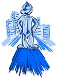 Stylized boy in city Stock Image