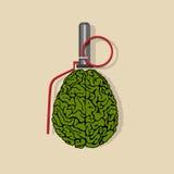 Stylized Brain hand grenade. Vector EPS10 Royalty Free Stock Photo