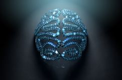 Stylized Artificial Intelligence Brain. A stylized brain textured with binary computer data code depicting artificial intelligence on an isolated dark spotlit Royalty Free Stock Photography