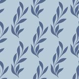 The stylized branch on a blue background. Seamless pattern Royalty Free Stock Image