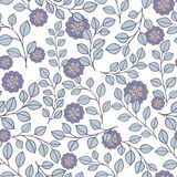 Stylized branch with flowers. Seamless background. Stylized branch with flowers. Seamless pattern on a white background Stock Image